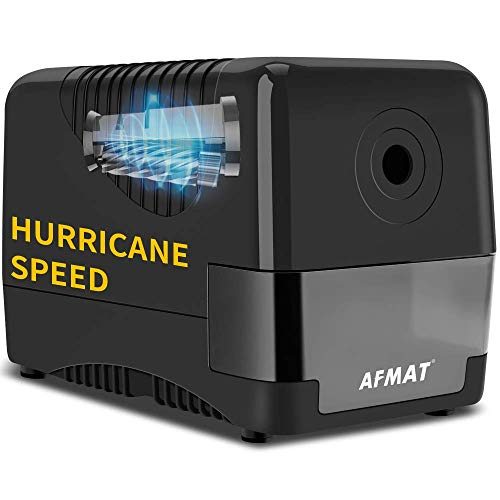 AFMAT Electric Pencil Sharpener Heavy Duty, 2B/ Colored Pencil Sharpener Plug In, Automatic Pencil Sharpener,W/The Strongest Industrial Helical Blade for Heavy Use, For 6.5-8mm Pencils, Black