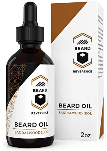 Sandalwood Beard Oil enhanced with Tea Tree & Argan & Jojoba Oil – Large 2oz Size – Conditions and Softens Your Beard for Healthy Beard and Mustache Growth and Care