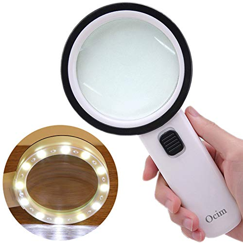 Magnifying Glass with Light,30X High Power Jumbo Lighted Magnifiers Lens for Seniors Reading Small Print,Stamps, Map,Inspection, Macular Degeneration