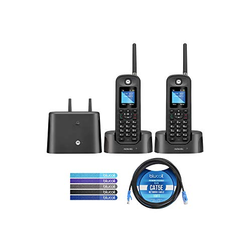 Motorola O212 DECT 6.0 Long Range Cordless Phones with Digital Answering Machine and Inductive Charging Station (2-Pack) Bundle with Blucoil 10-FT 1 Gbps Cat5e Cable, and Reusable Cable Ties (5-Pack)