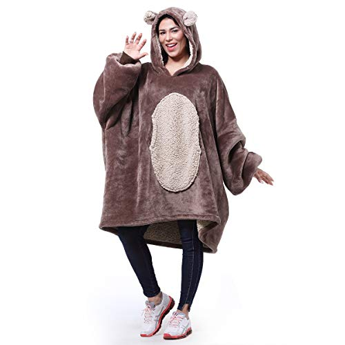 Catalonia Bear Oversized Hoodie Blanket Sweatshirt,Super Soft Warm Comfortable Sherpa Giant Pullover with Large Front Pocket,for Adults Men Women Teenagers Kids