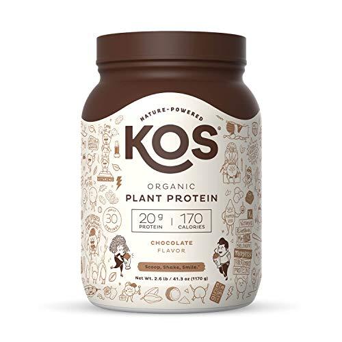 KOS Organic Plant Based Protein Powder, Chocolate - Delicious Vegan Protein Powder - Keto Friendly, Gluten Free, Dairy Free & Soy Free - 2.6 Pounds, 30 Servings
