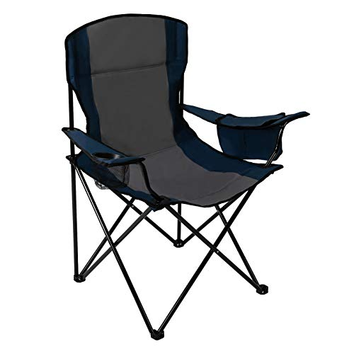 Pacific Pass Full Back Quad Chair for Outdoor and Camping with Cooler and Cup Holder, Carry Bag Included, Supports 300lbs, Middle, Blue/Gray