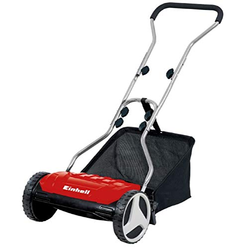 Einhell GE-HM 38 S-F Manual Deluxe 15-Inch 5-Blade Steel Reel Mowing System Push Reel Mower, w/ Easily Removable 6.9-Gallon Collection Bag, Adjustable Handlebar