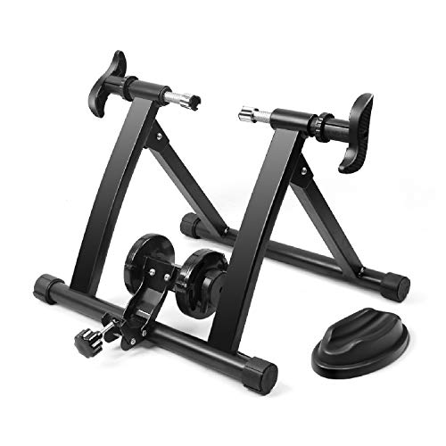 Flexzion Bike Trainer, Indoor Stationary Exercise Turbo Training Riding Adjustable Magnetic Resistance Stand, Front Wheel Stand Pad Included Compatible for 26-28 Inch Wheel Size, Cycling Sports