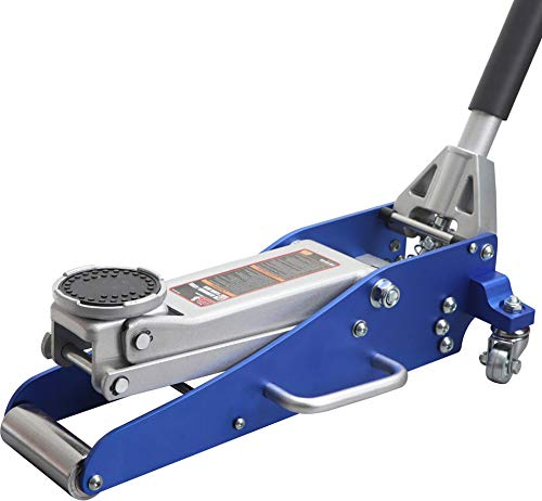 BIG RED T815016L Torin Hydraulic Low Profile Aluminum and Steel Racing Floor Jack with Dual Piston Quick Lift Pump, 1.5 Ton (3,000 lb) Capacity, Blue