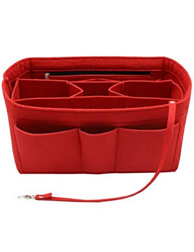 Felt Insert Fabric Purse Organizer Bag, Bag Insert In Bag with Zipper Inner Pocket Fits Neverfull Speedy 8010 Red L
