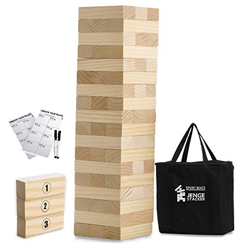 Large Tower Game Jenge Stacker Wooden Stacking Games Lawn Outdoor Games for Adults and Family - Includes Rules and Carry Bag-54 Large Blocks