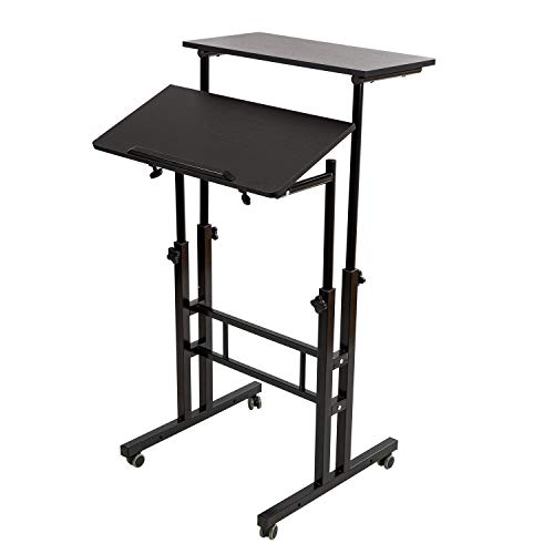 SIDUCAL Mobile Stand Up Desk, Adjustable Laptop Desk with Wheels Home Office Workstation, Rolling Table Laptop Cart for Standing or Sitting, Black