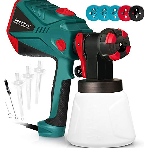 Scuddles Paint Sprayer, 1200 Watt High Power HVLP Home and Outdoors Includes 5 Nozzle, Lightweight, Easy Spraying and Cleaning