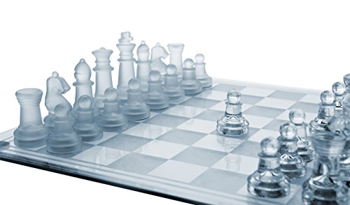 Gamie 14 Inch Glass Chess Set, Elegant Design - Durable Build - Fully Functional - 32 Frosted and Clear Pieces - Felted Bottoms - Easy to Carry - Reassuringly Stable