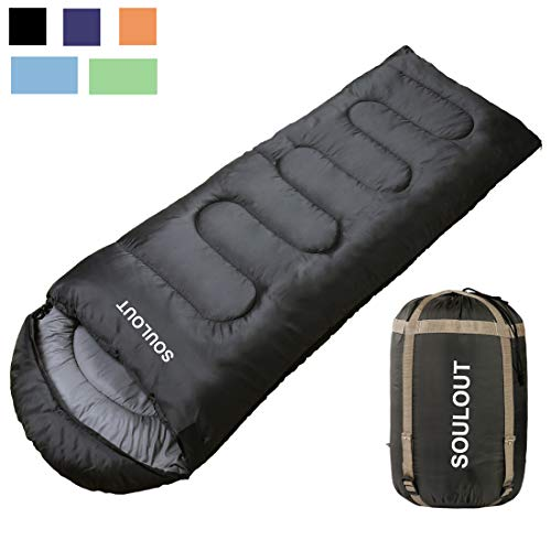 Envelope Sleeping Bag - 3-4 Seasons Warm Cold Weather Lightweight, Portable, Waterproof Compression Sack Adults & Kids - Indoor & Outdoor Activities: Traveling, Camping, Backpacking, Hiking, Dark Grey