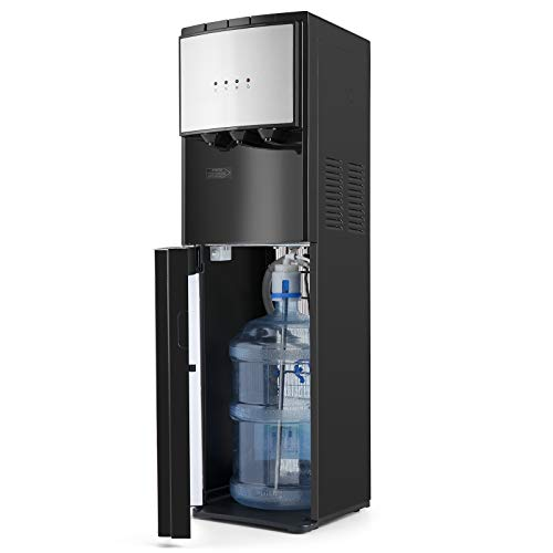 Bottom Loading Water Dispenser 5 Gallon,Hot Cold and Room Water Cooler with 3 Temperature Spouts, Empty Bottle Indicator Child Safety Lock Stainless Steel Black Home and Office Use