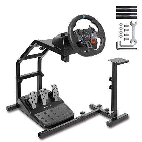 Minneer Racing Wheel Stand with V2 Support Game Support Stand Up Simulation Driving Cockpit for Logitech G29, G27, G25, G920, All Thrustmaster Racing Simulator Wheel Stand Without Wheel and Pedals