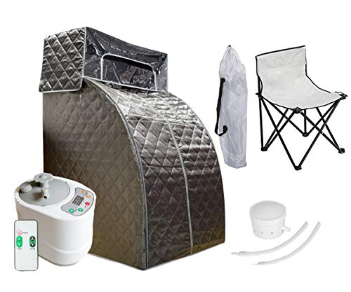 ZONEMEL Portable Steam Sauna Spa for Weight Loss, Detox, Relaxation at Home, Folding Private Sauna Tent, Head Coverage, 2L Steam Generator with Remote Control, Chair Included (US Plug, Darkgrey)
