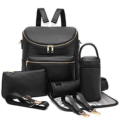 Diaper Bag Backpack Leather Backpack for Women Travel Backpack Baby Bag Large with Troller Straps Capacity for Wet Clothes, Breast Pump, Milk Bottle Black