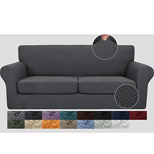 JIVINER Newest 3 Pieces Couch Covers for 2 Cushion Couch Stretch Sofa Slipcover with 2 Extra Large Seat Cushion Covers Thick Fitted Loveseat Sofa Covers for Living Room (XL Loveseat, Dark Gray)