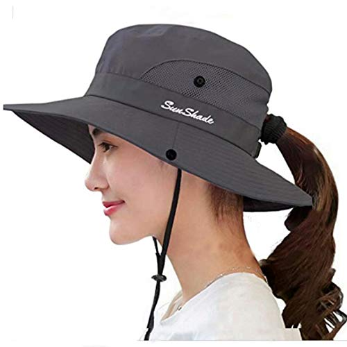 Womens UV Protection Wide Brim Sun Hats - Cooling Mesh Ponytail Hole Cap Foldable Travel Outdoor Fishing Hat (Grey)