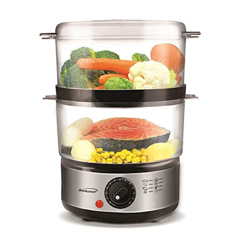 #1 Professional 2 Tier Electric Food Steamer With Timer & Stackable, Produce 5 Quarts of Steamed Veggies, Meats & more - Baby Food Maker Save Time & Cook Healthy - BPA Free