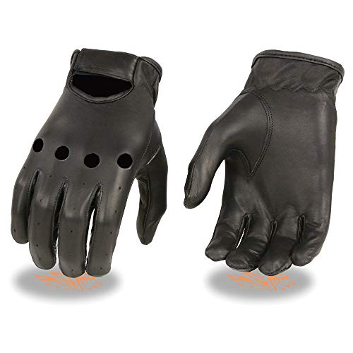 Milwaukee Leather SH247 Men's Black Unlined Leather Classic Style Driving Gloves - Large