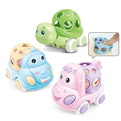 Tepear Baby Girls Rattle Roll Car Push Soft Toys 6 12 Months Infant Boys Walker Toddlers 3pcs Friction Power Truck Learning Gift for 1 2 3 Year Old