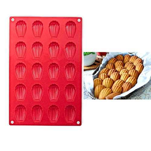 EORTA Silicone Madeleine Pan 20 Cavity Shell Shaped Baking Mold Non-Stick Rectangular Cake Tray for Chocolate Cookie Dessert Candy Soap Ice Cube, Red, 30x20 CM