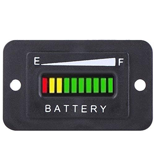 Led Digital Battery Indicator Meter Gauge Golf Cart, 12V/24V/36V/48V Led Battery Gauge for Golf Cart with Hour Meter(48V)