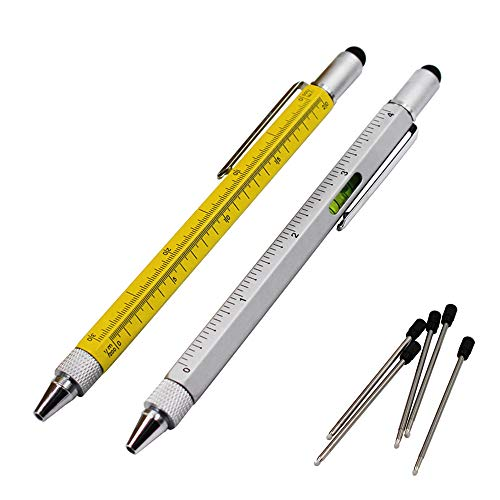 2PCS PACK 6 in 1 Screwdriver Tool Pen - Mini Multifunction Pen with Stylus, Flat and Phillips Screwdriver Bit, Bubble Level and inch cm Ruler all in one (Model B, YELLOW & GREY)