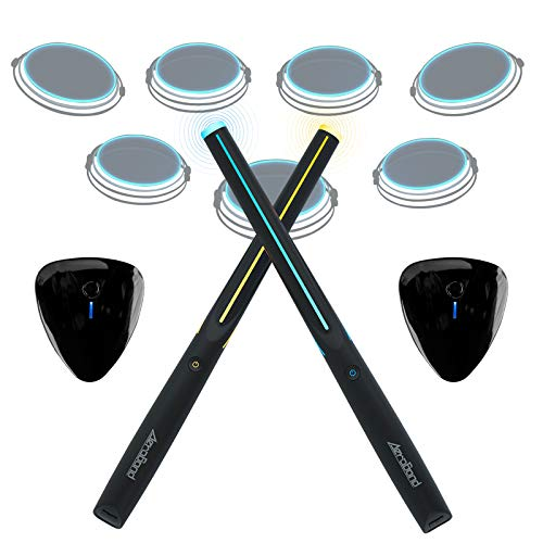 Aeroband Electronic Drum Set, Bluetooth Connected Air Drums Kit, Built-in Smart Chip Portable Drumsticks With 2 Pieces Electronic Pocket Guitar/Foot Bass Great Gift for Kids Beginners Amateurs