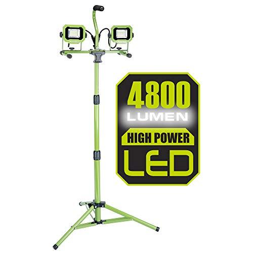POWERSMITH PWL2048TS 4800 Lumen Weatherproof Dual Head LED Metal, Impact-Resistant Glass Lens and 9' Cord Tripod Work Light
