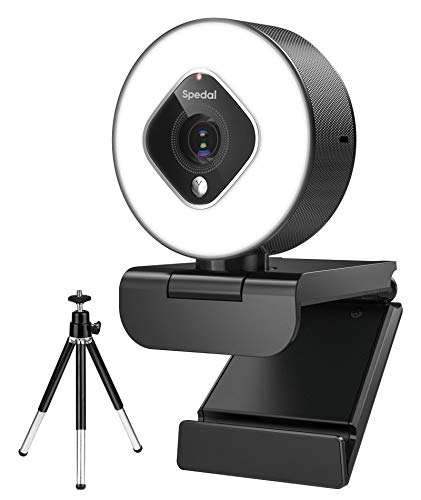 Spedal Streaming Webcam with Light, 1080P Autofocus Zoom Camera with Microphone, OBS, YouTube, Skype, Twitch Compatible, Face Cam for Broadcasting, Gaming, Live, Video Calling and Recording