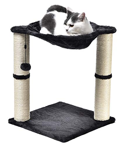 Amazon Basics Cat Condo Tree Tower With Hammock Bed And Scratching Post, 16 x 20 x 16 Inches, Gray