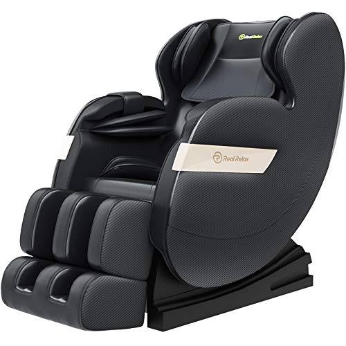 Real Relax Massage Chair, Full Body Zero Gravity Shiatsu Massage Recliner with Bluetooth Heat Foot Roller, FAVOR-03 Plus(Black)