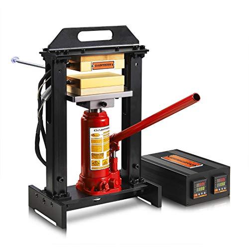 6 Ton Hydraulic Jack Heat Press Machine with Dual 3x5 Inch Heated Plates