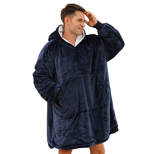 BUZIO Oversized Hoodie Blanket for Teens and Adults, Wearable Fleece & Sherpa Blanket Sweatshirt with Hood, One Size Fits All, Navy Blue
