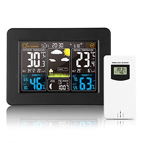Wireless Weather Station, Outdoor Clock Sensor Digital Weather Station with Barometer, Temperature, Humidity Monitor, Weather Forecast for Home Bedroom Garden, Black