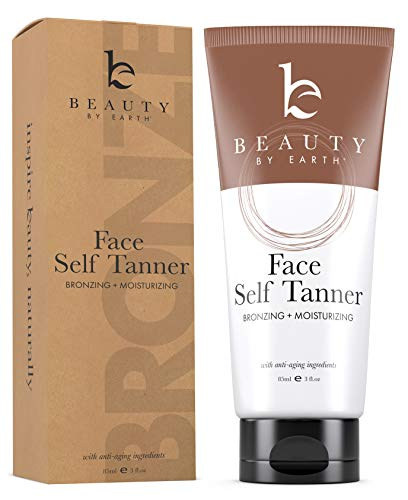 Self Tanner for Face – Face Tanner With Organic Aloe Vera & Shea Butter, Sunless Tanning Lotion and Bronzer Buildable Light, Medium or Dark Tan, Natural Looking Fake Tan Self Tanners Best Sellers, 3oz