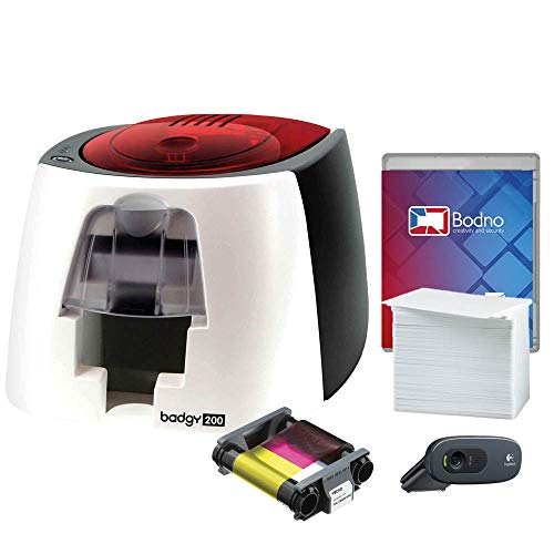 Badgy200 Color Plastic ID Card Printer with Complete Supplies Package with Photo ID Camera & Bodno ID Software - Bronze Edition