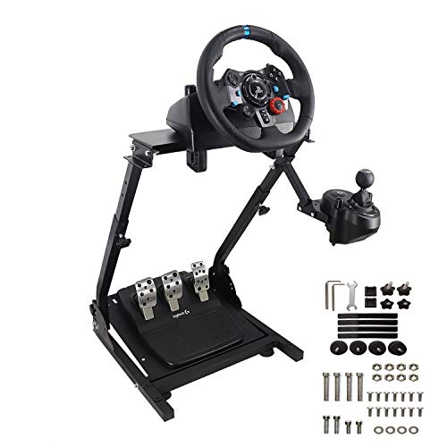 Racing Wheel Stand, Height Adjustable & Foldable Steering Wheel Stand Compatible with Logitech G25,G27,G29,G920 Gaming Cockpit