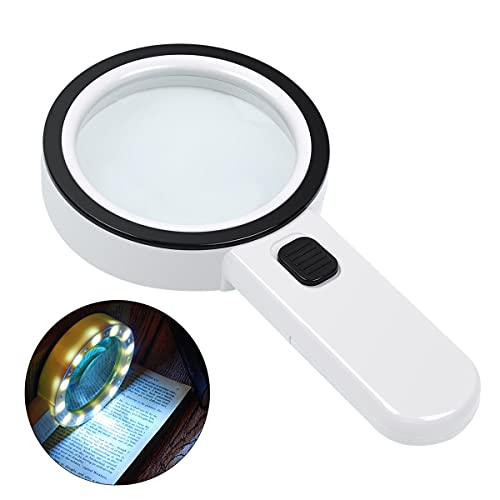 Magnifying Glass with Light, 30X Handheld Large Magnifying Glass 12 LED Illuminated Lighted Magnifier for Macular Degeneration, Seniors Reading, Soldering, Inspection, Coins, Jewelry, Exploring(Black)