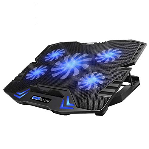 TopMate C5 10-15.6 inch Gaming Laptop Cooler Cooling Pad, 5 Quiet Fans and LCD Screen, 5 Heights Adjustment, 2 USB Port and Blue LED Light
