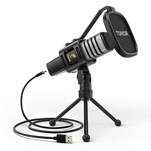USB Microphone, TONOR Condenser Computer PC Mic with Tripod Stand, Pop Filter, Shock Mount for Gaming, Streaming, Podcasting, YouTube, Voice Over, Skype, Twitch, Compatible with Laptop Desktop, TC30