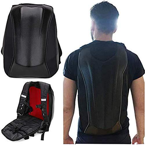 Motorcycle Backpack Water-Resistant Waterproof Bag - Hard Shell Backpack Carbon Fiber Motorbike Helmet Backpack Waterproof Large Capacity Riding Laptop Bag For Travelling Camping Cycling Storage Bag