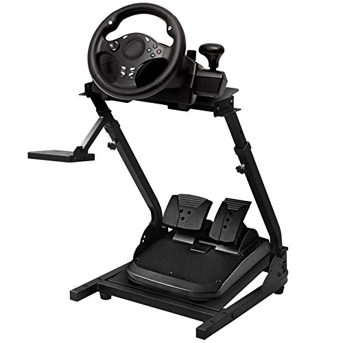 JIE JIN Racing Wheel Stand Steering Wheel Stand Gaming Cockpit Height Adjustable Foldable Gaming Racing Simulator Wheel Stand for Logitech G920 G29 G27 G25 Ps4 T300rs 458 T80, Wheel&pedal Not Included