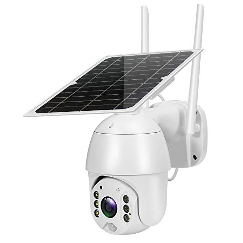 Outdoor Solar Security Camera 1080P Waterproof Dome Camera WiFi PTZ Pan/Title Night Vision PIR Motion Detection Two-Way Audio Cloud/SD Card Storage 18000mAh Battery Powered