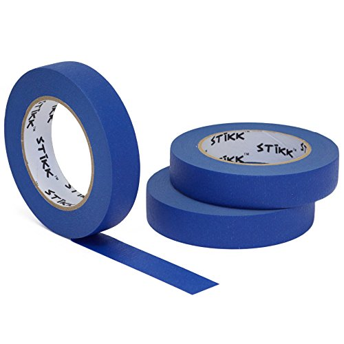 3 Pack 1' x 60 Yard STIKK Blue Painters Tape 14 Day Clean Release Trim Edge Finishing Tape (.94 in 24MM) (3 Pack)