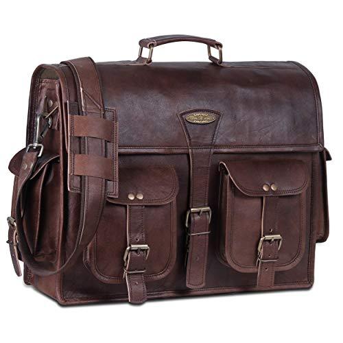 Handmade World Leather Messenger Bags For Men 18 Women Men's Briefcase Best Computer Satchel Bag Fits Up to 17.3' Inch Laptop