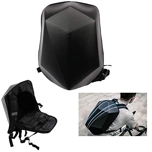 Motorcycle Backpack Waterproof Bag Hard Shell Backpack Carbon Fiber Motorbike Helmet Large Capacity Bag For Men Travelling Camping Cycling Storage