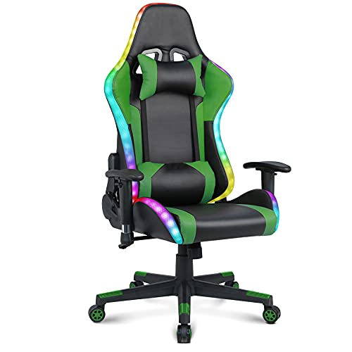 Gaming Chair with Speakers Video Game Chair with RGB Light Ergonomic Racing Office Chair PU Leather Recliner Computer Chair Swivel E-Sports Chair with Headrest Armrest Lumbar Support - Green