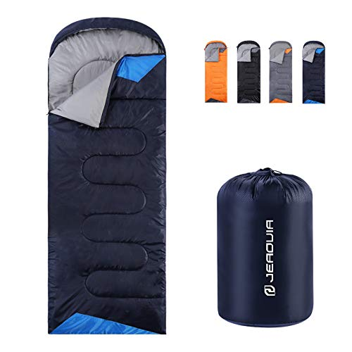 Sleeping Bags for Adults Backpacking Lightweight Waterproof- Cold Weather Sleeping Bag for Girls Boys Mens for Warm Camping Hiking Outdoor Travel Hunting with Compression Bags(Blue)